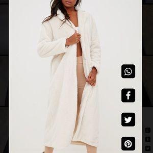 Pretty little thing- cream longline faux fur coat